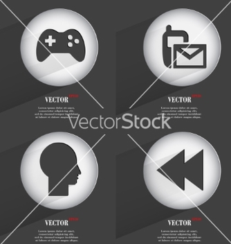 Free set of 4 flat buttons icons with shadows on vector - бесплатный vector #236751