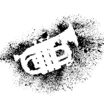 Free silhouette of trumpet with grunge black splashes vector - Free vector #236911