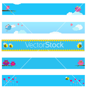 Free banner set with bird bee owl and flowers vector - Free vector #237221