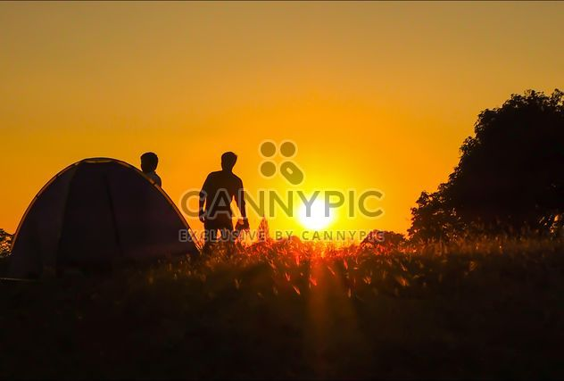 Sunset at tent camp - image #237281 gratis