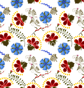 Free seamless texture with red and blue flowers vector - бесплатный vector #237761