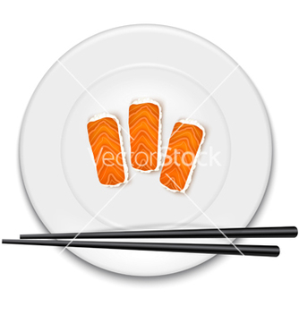 Free white plate with sushi and chopsticks vector - бесплатный vector #237901