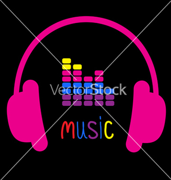 Free pink headphones equalizer and colorful word music vector - Free vector #238091