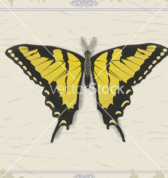 Free vintage postcard with image swallowtail vector - Free vector #238141