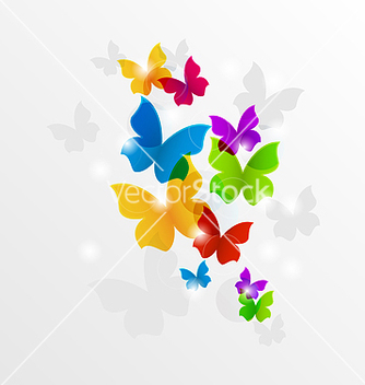 Free abstract rainbow butterflies colorful background vector - Free vector #238171