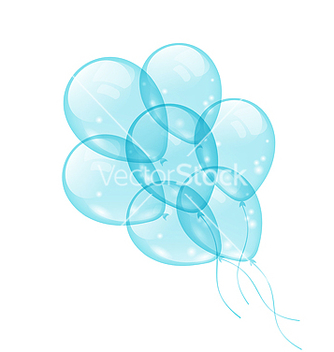 Free bunch blue balloons isolated on white background vector - Free vector #238381