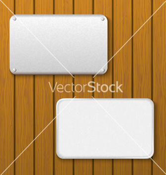 Free two metal plates on a wooden wall vector - vector gratuit #238511