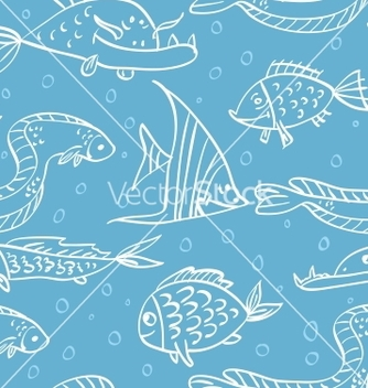 Free seamless pattern with fish in the sea vector - Free vector #238661