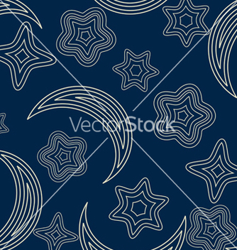 Free seamless pattern with stars and moon vector - vector #238801 gratis