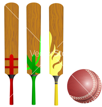 Free cricket bats and ball vector - vector gratuit #238891