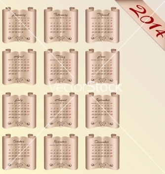 Free vintage curly calendar for 2014 vector - Free vector #239061