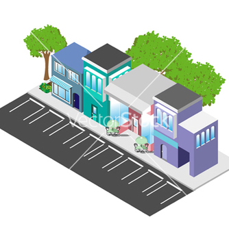 Free isometric downtown shops vector - Free vector #239191