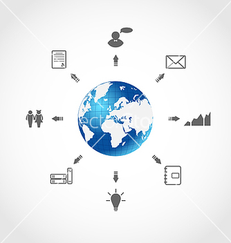 Free global internet communication set business vector - vector gratuit #239281