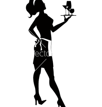 Free silhouette of a cocktail waitress vector - vector gratuit #239471
