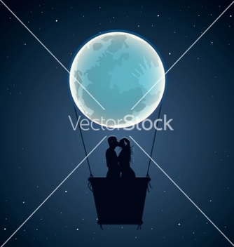 Free lovers by hot air balloon in moon form vector - vector gratuit #239681