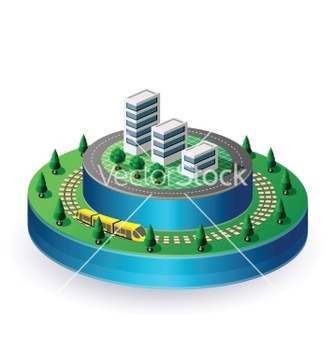 Free city on a round base vector - vector gratuit #240171