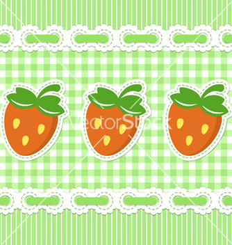 Free green checked pattern with strawberry vector - vector gratuit #242311