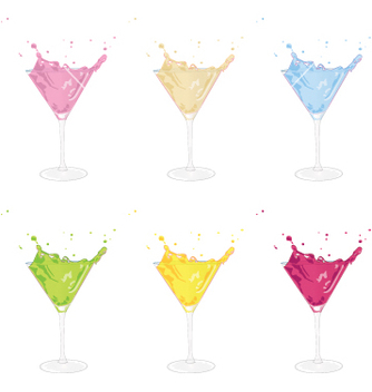 Free cocktails set vector - Free vector #242441