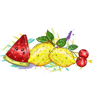 Free fruits with colorful splashes vector - vector gratuit #243221