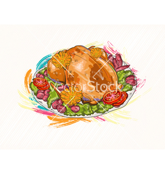 Free cooked chicken vector - vector gratuit #243281