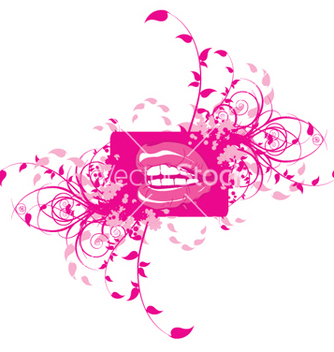 Free mouth with floral vector - vector #243991 gratis