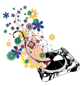 Free turntable with floral vector - Kostenloses vector #244331