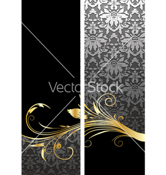 Free gold floral banners vector - Free vector #244341