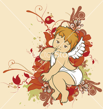 Free angel with floral vector - vector gratuit #244491