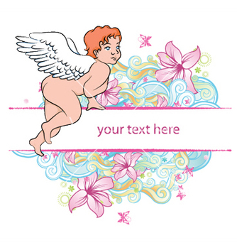 Free angel with floral vector - Kostenloses vector #244651