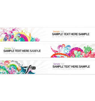 Free web banners with floral vector - бесплатный vector #244741