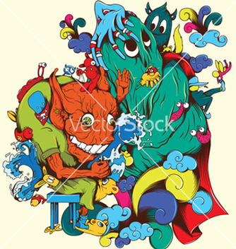 Free funny monsters vector - Free vector #245511