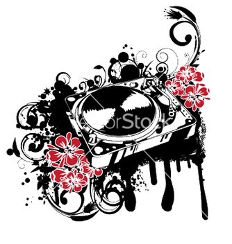 Free turntable with grunge vector - Kostenloses vector #245731