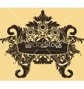 Free vintage floral with crown vector - бесплатный vector #246841