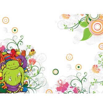 Free funny monsters with floral vector - vector gratuit #247991