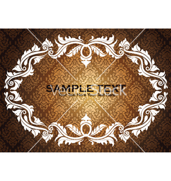 Free vintage floral frame with damask background vector - Kostenloses vector #248201