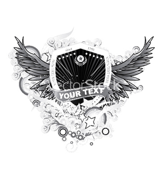 Free shield with floral and wings vector - Kostenloses vector #248321