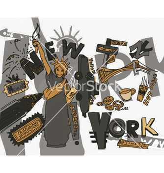 Free new york doodles vector - бесплатный vector #248791