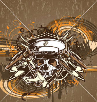 Free skull with floral vector - Kostenloses vector #249241