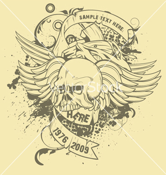 Free grunge tshirt design with cross and skull vector - vector #249641 gratis