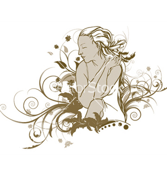 Free girl with floral vector - Kostenloses vector #250271