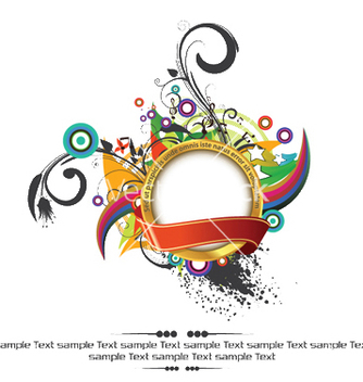 Free gold label with floral vector - vector #250441 gratis