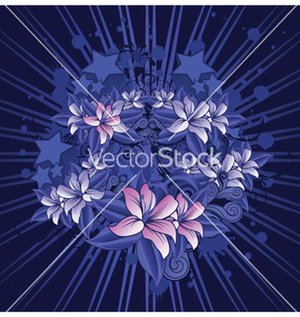 Free grunge floral with rays vector - Free vector #250591