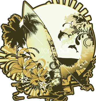 Free summer emblem with surfboard vector - Free vector #250621
