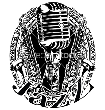 Free music frame with microphone and saxophone vector - Kostenloses vector #250711