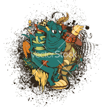 Free funny monsters with grunge vector - Kostenloses vector #251091