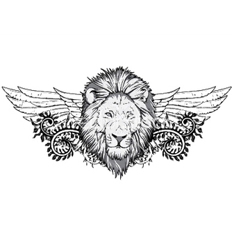 Free lion with floral and wings vector - vector gratuit #251141
