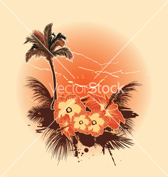 Free summer background with hibiscus vector - Free vector #251631