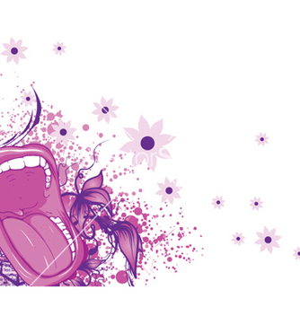 Free screaming mouth with floral background and splash vector - Kostenloses vector #251751
