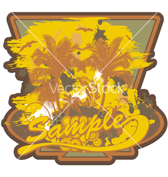 Free grunge summer label with palm trees vector - Free vector #252181