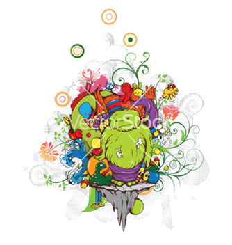 Free funny monsters with floral vector - vector gratuit #252321